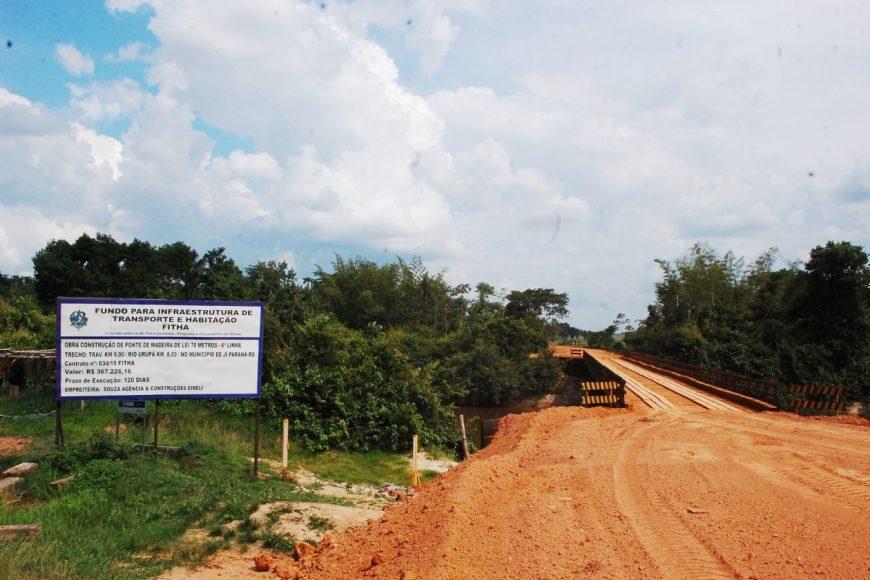 Ponte com 70 metros de extensão foi construída na Linha 6, zona rural de Ji-Paraná