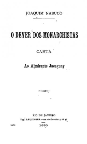 O DEVER DO MONARCHISTA CARTA AO ALMRANTE JACEGUAY