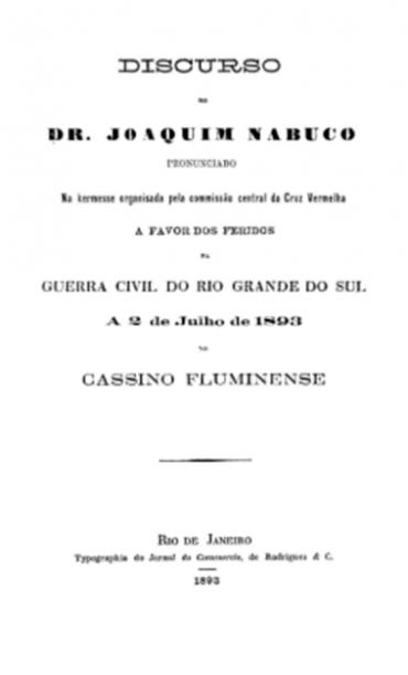 DISCURSO DO DR. JOAQUIM NABUCO
